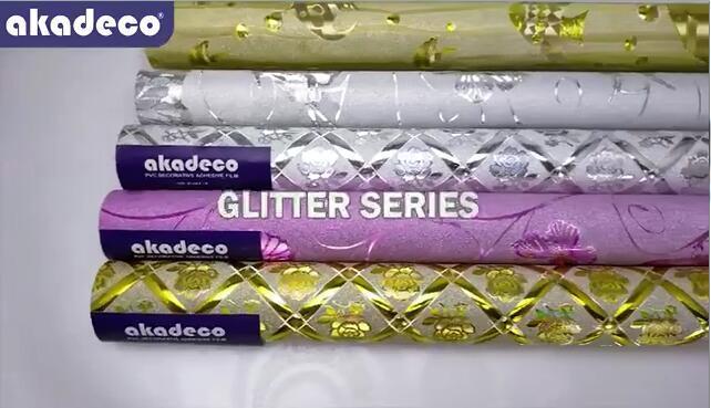 AKADECO Glitter Self Adhesive film, Removable Peel & Stick Wallpaper