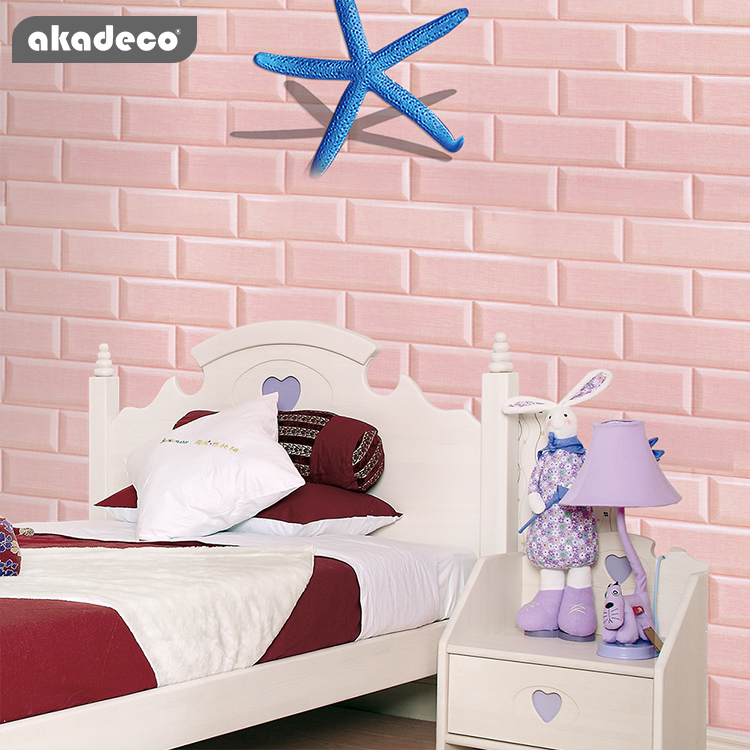akadeco Youtube hot selling blue color self adhesive home decoration wallpaper for children' room XPE 3D brick foam wall sticker