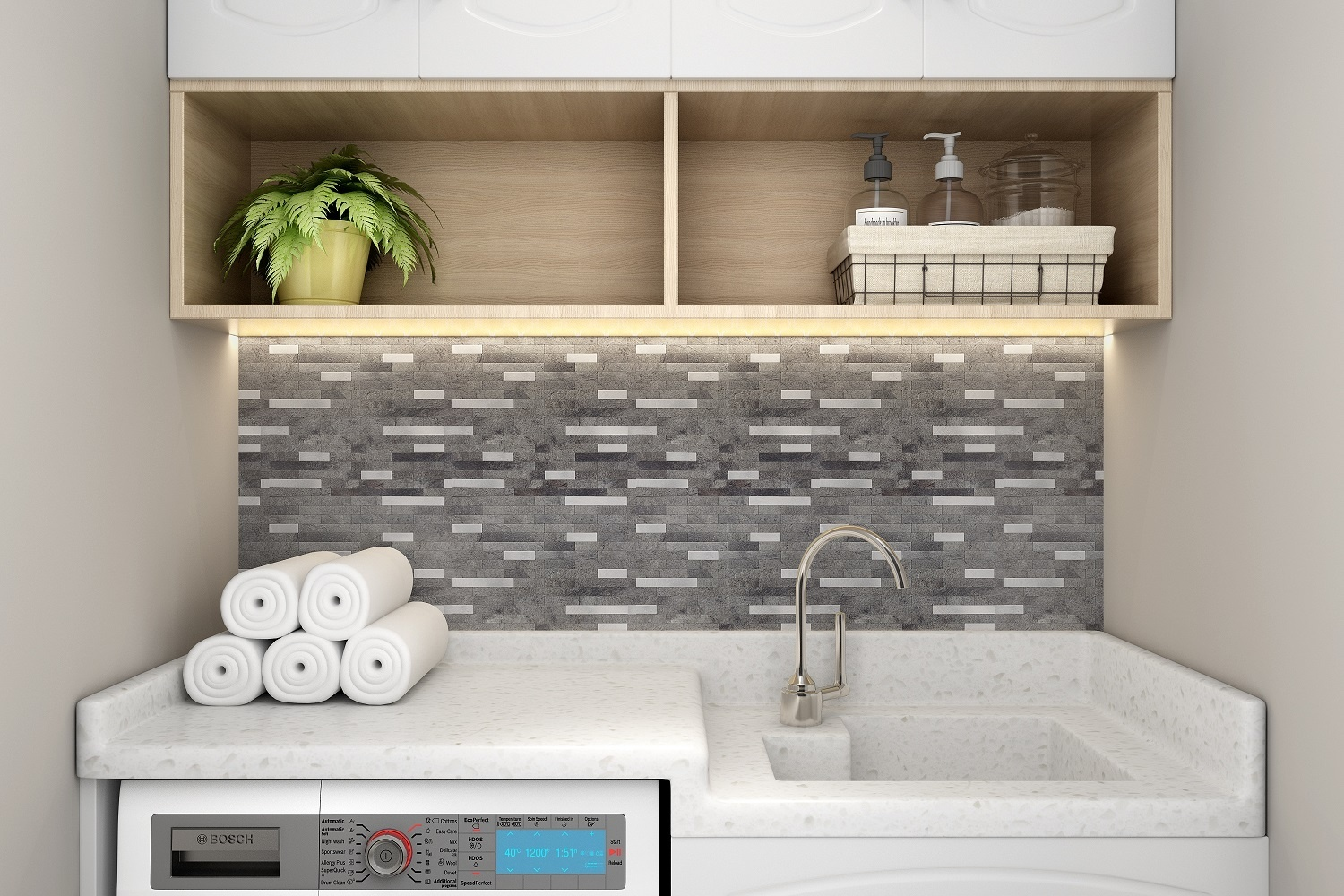 USA New Trend Peel and Stick Faux Stone No Grout Backsplash Tiles and backsplash for Kitchen