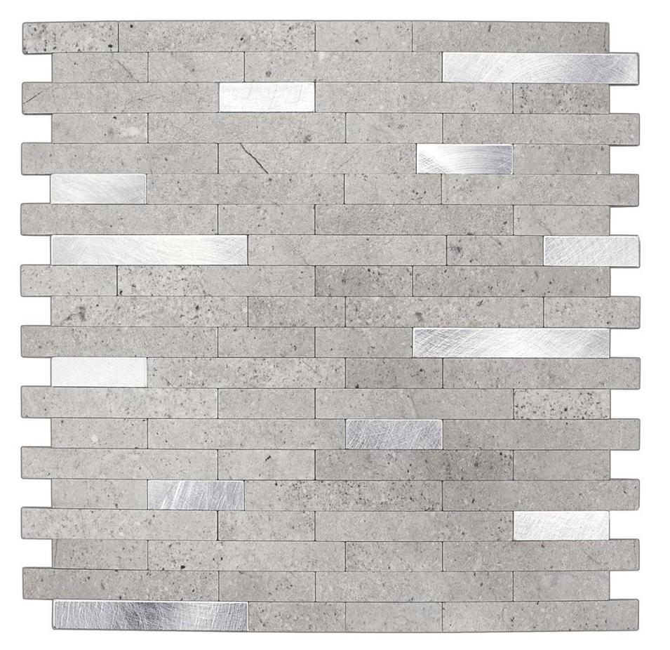 Instant Stick on PVC Composite Metal Tile Backsplash Peel and Stick Premium Tile Metal Light Slate