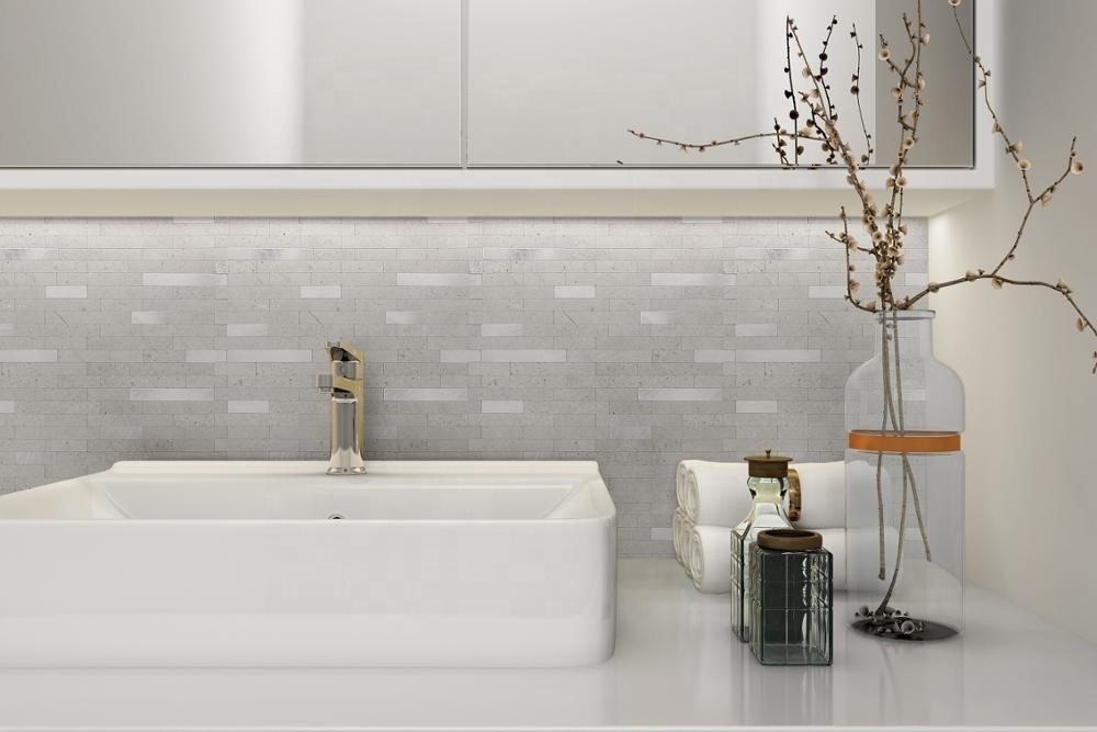 Instant Stick on PVC Composite Metal Tile Backsplash Peel and Stick Premium Tile Metal Light Slate