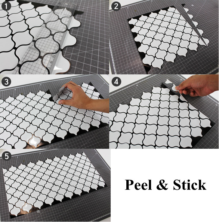 Textured Wallpaper Easy to install self adhesive waterproof wall sticker for shower bathroom kitchen backsplash