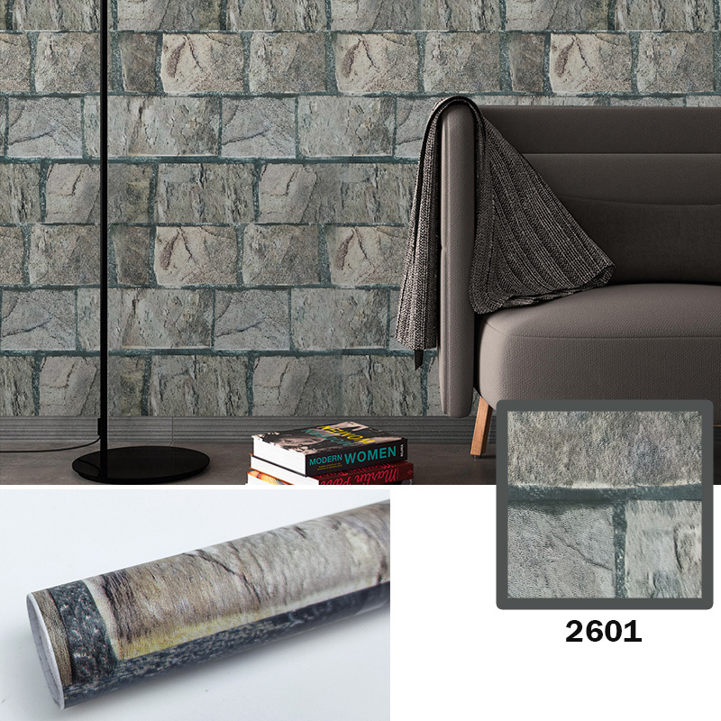 Factory supply cheap stone wall paper rolls 3d brick waterproof peel and stick pvc self adhesive wallpaper