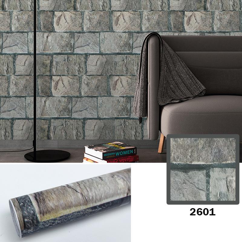 Factory supply cheap stone wall paper rolls 3d brick waterproof peel and stick pvc self adhesive wallpaper