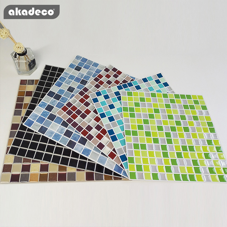 akadeco hot salling wall stick beautiful and fresh colors 3D peel and stick tiles