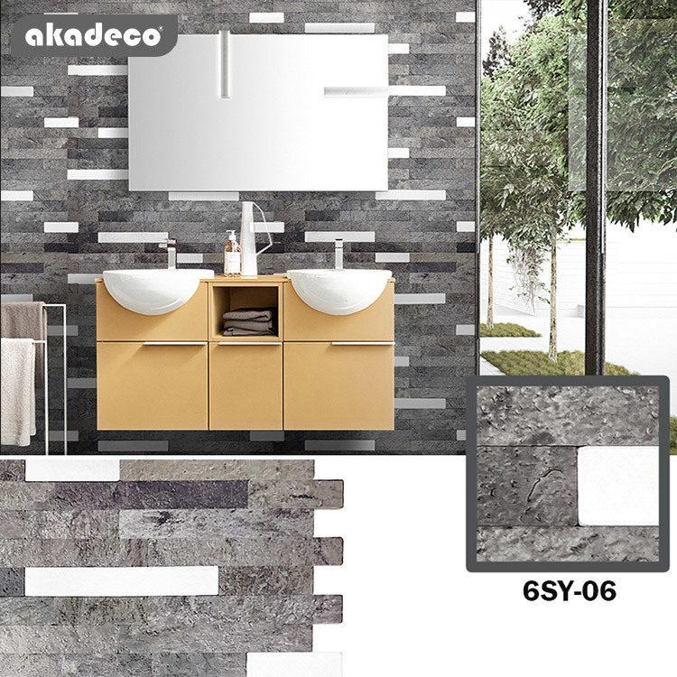 akadeco 3d wall sticker new arrival suitable for bathroom decoration metal mosaic and easy tile