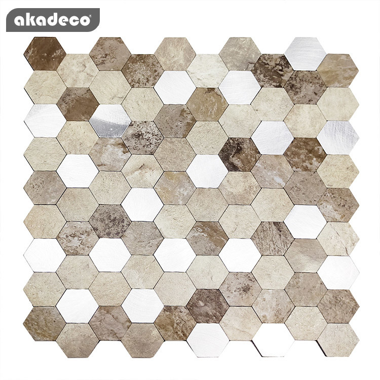 akadeco self adhesive film 3D stereo effect metal mosaic and easy tile oil-proof water-proof