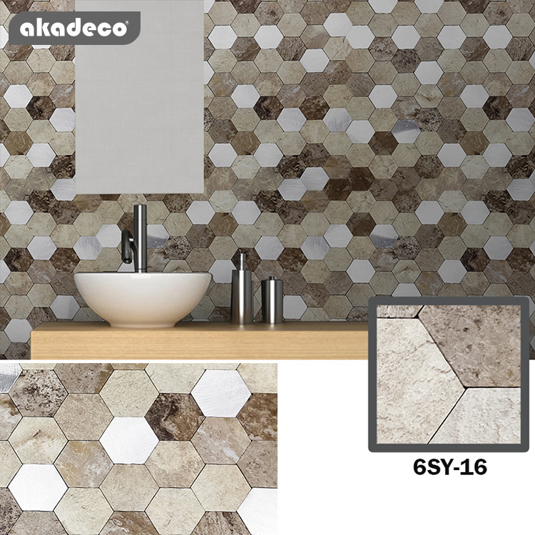 akadeco self adhesive film 3D stereo effect metal mosaic and easy tileoil-proof water-proof