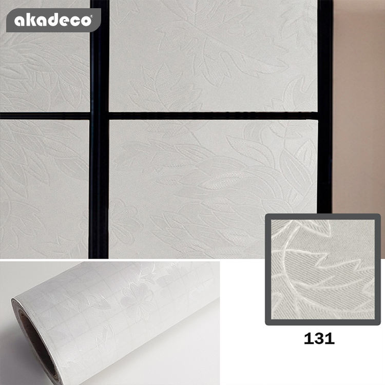 akadeco embossed frosted self adhesive waterproof UV blocking privacy protection home office glass window decorative film