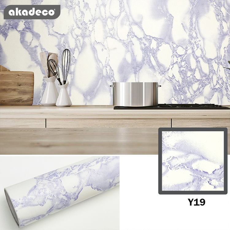 akadeco marble paper self adhesive wallpaper waterproof gloss PVC vinyl  marble vinyl paper for  furniture cover surface countertop kitchen shelf liner