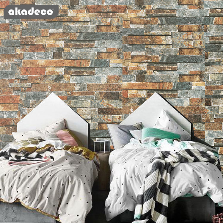 akadeco peel and steel brick paper stick wallpaper self-adhesive brick textured wallpaper removable film for room décor wall décor