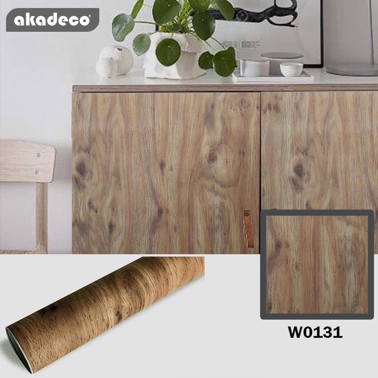 akadeco wooden self adhesive film Wood Texture pvc decorative film for funiture wall covering