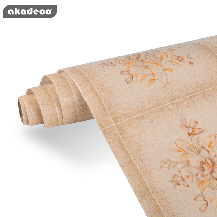 printing fancy wallpaper factory price printed PVC self adhesive wallpaper  for home decoration