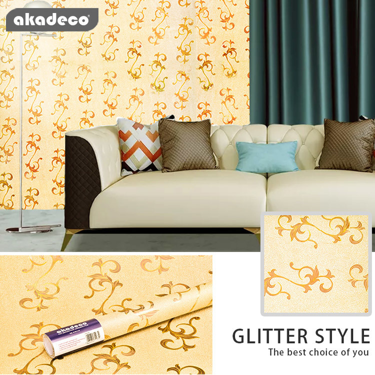 Hot goods PVC Glittering Wallpaper China New Design Fashion Pattern 3d Glitter Wallpaper for Home&Office Renovation
