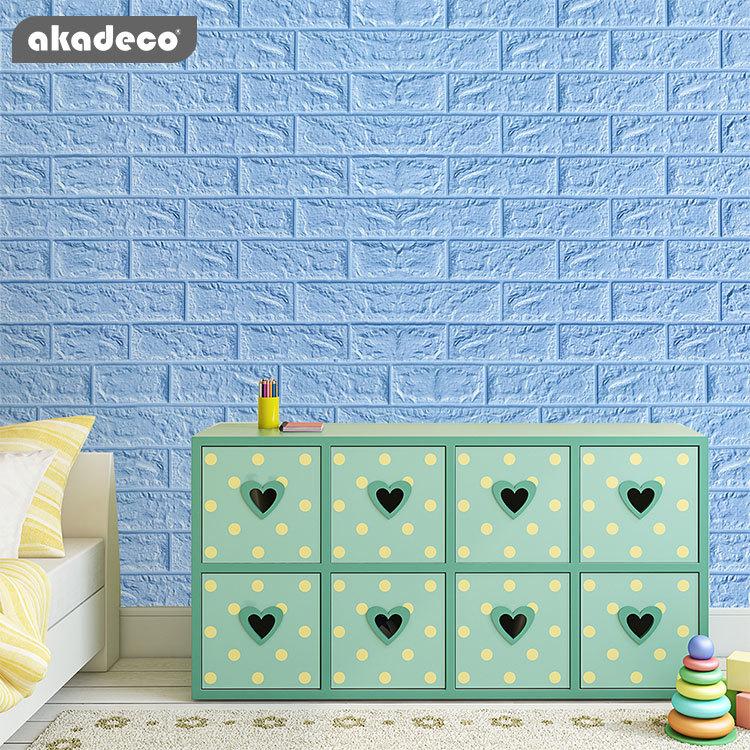 blue brick 3D wall sticker