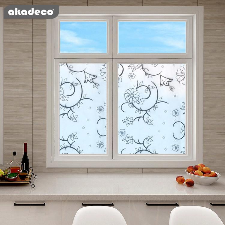 AKADECO static cling rain glass window film removable rain decorative window film privacy  anti-UV heat control