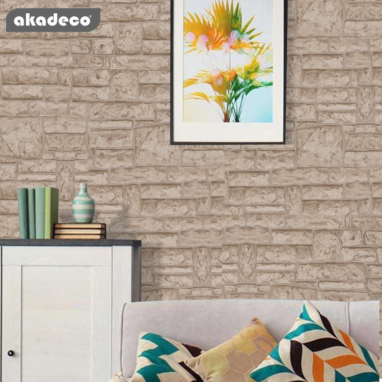 stone brick wallpaper peel and stick wallpaper self adhesive wallpaper removable contact paper wall Paper or shelf Paper 3D faux textured stone wall look brick wallpaper