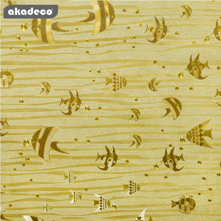 glitter film wrap gold color film cute fish taxture suitable for KTV fadeless PVC healthy material G26A