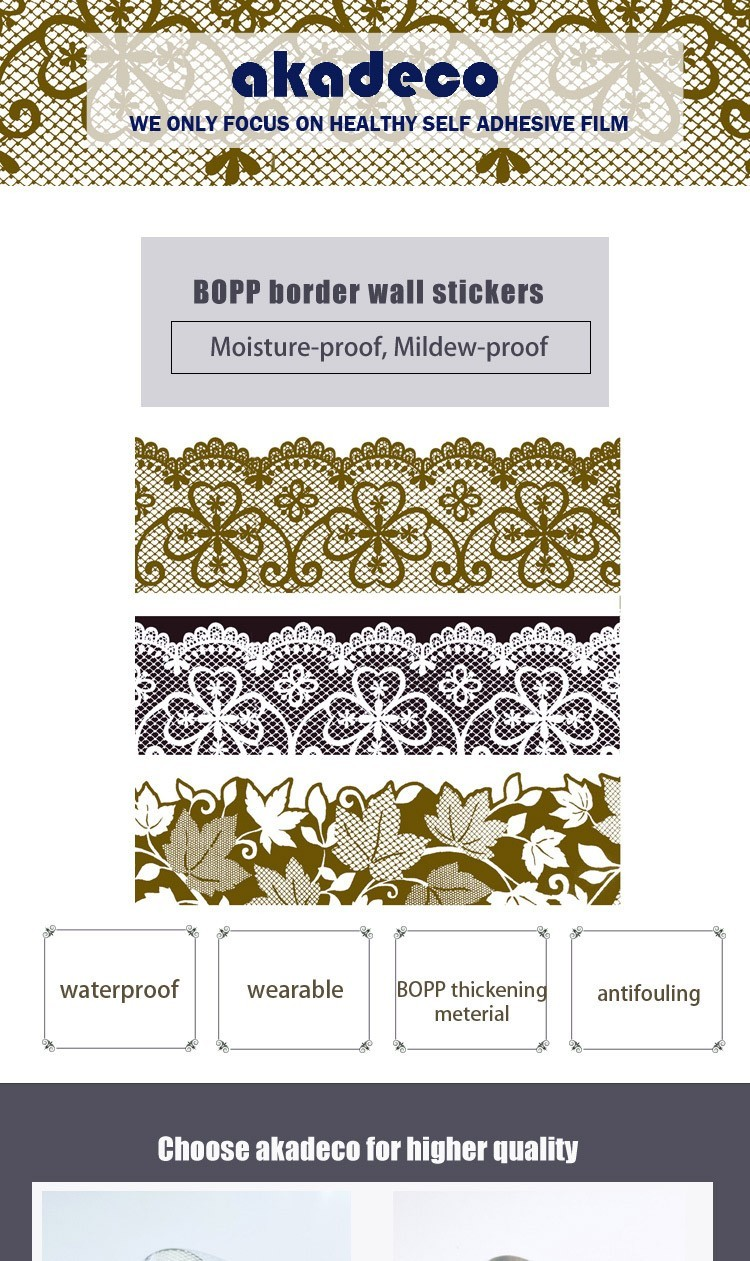 SUNYE peel off border stickers with good price for hotel