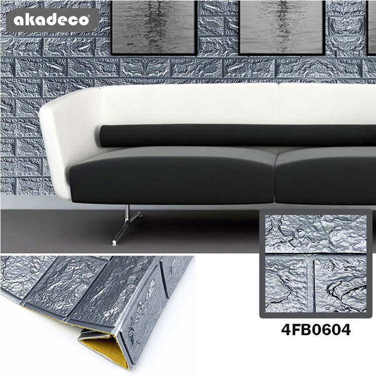 akadeco colorful 3D foam wallpaper anti-noise  popular brick texture protecting film 4HB0604