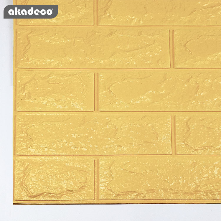 3D XPE wall stick soft wall sticks anti-fouling popular brick design classic yellow color