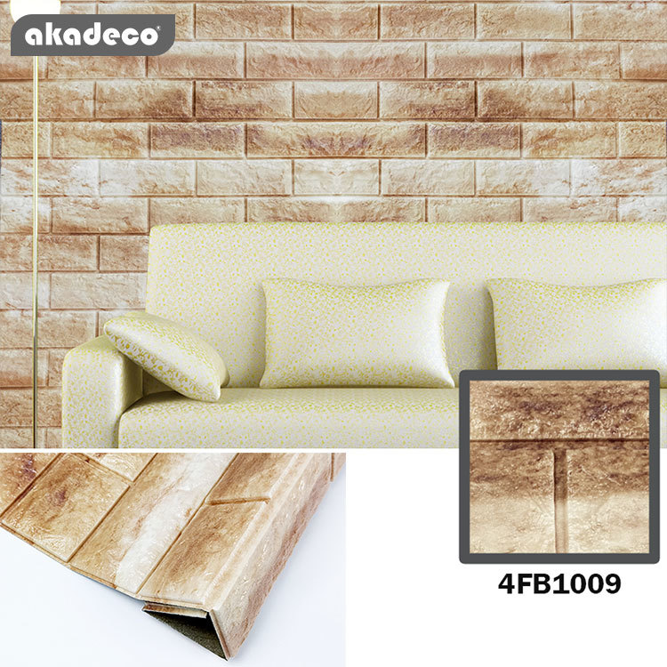 3D XPE wallpaper soft wall sticks brown & white color stick on wall suitable for children room 4FB1009