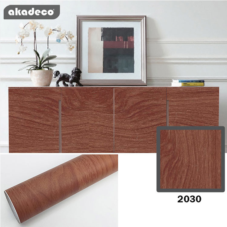 akadeco wooden wallpaper for bedroom classic color water-proof PVC material