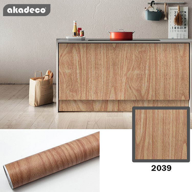 PVC wood wallpaper for furniture décor use for all life classic nature wood color 2039