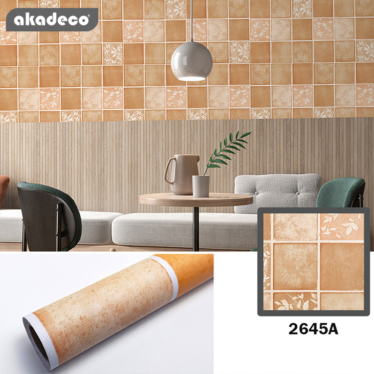 PVC printed wallpaper self adhesive orange color water-proof suitable for wall