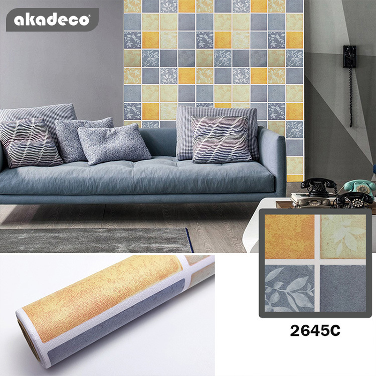 akadeco PVC leaf printed wallpaper new design mildure-proof wall decoration