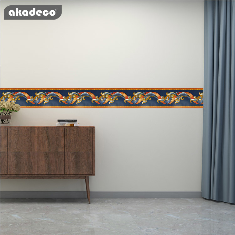 PVC border stickers for bathroom tiles printed color classic BD3217
