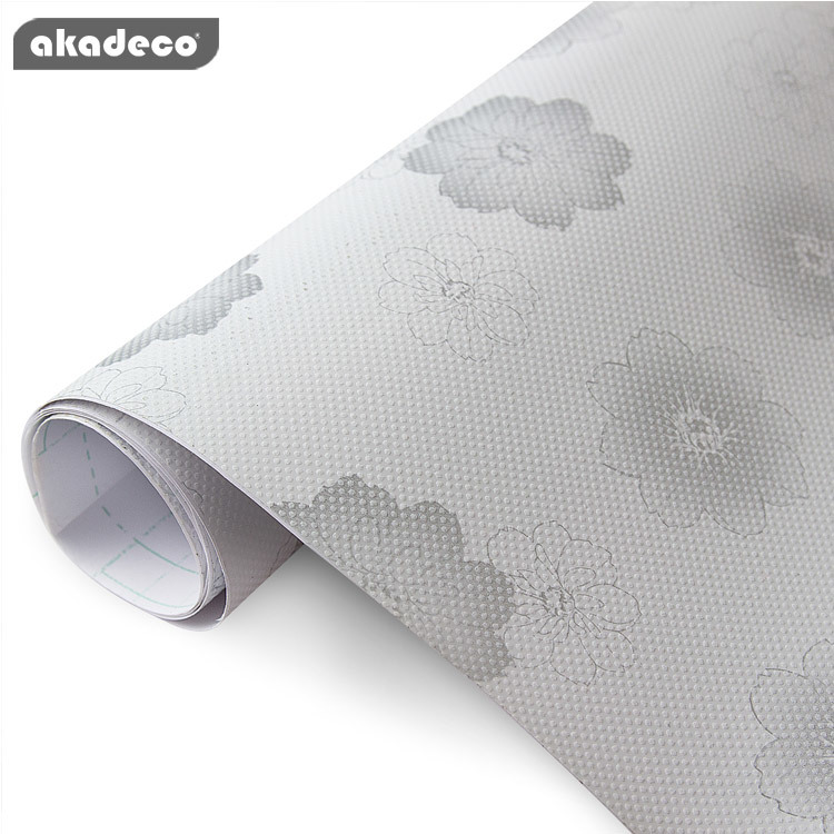 akadeco PVC wall stickers new flower design water-proof moisture-proof gray color