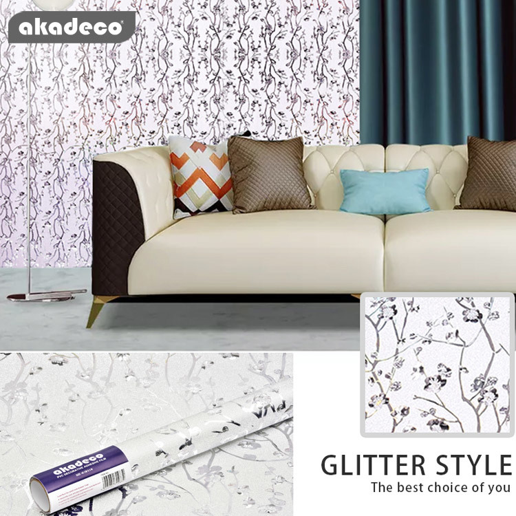 PVC self adhesive film glitter for wall furniture decir moisture-proof G024