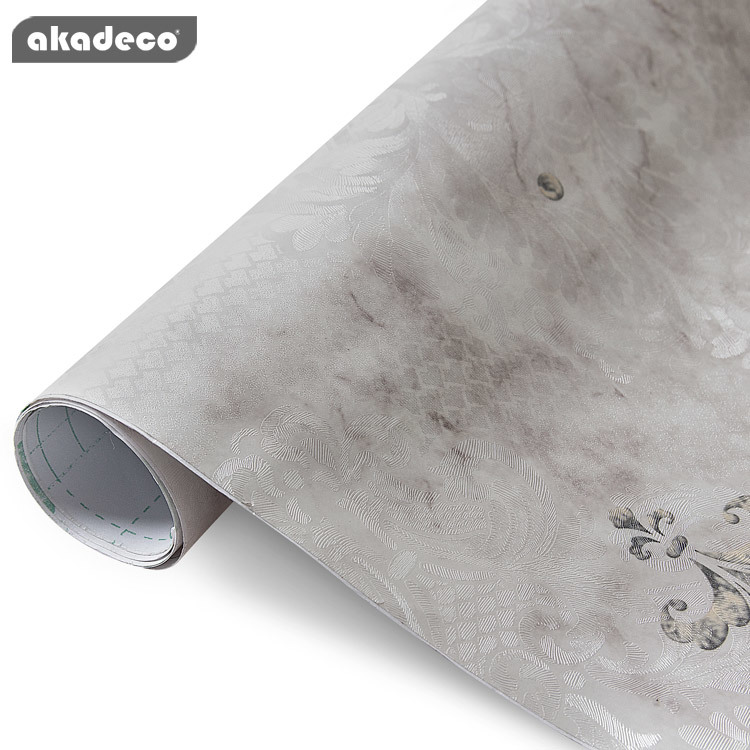 akadeco PVC wallpaper classic design water-proof moisture-proof gray color 95044