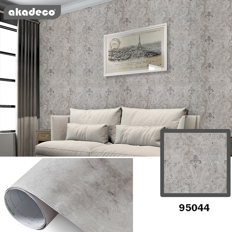 akadeco PVC wallpaper classic design water-proof moisture-proof gray color 95044