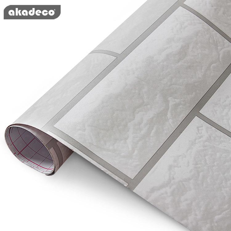 PVC self adhesive film for walls for furniture 3D brick design mildew-proof 91011