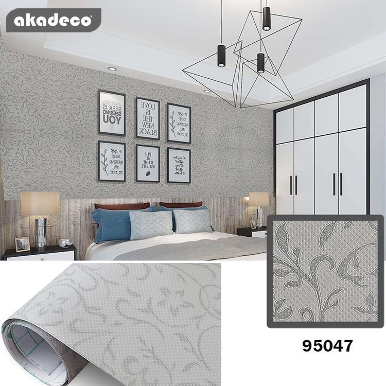 Akadeco hot selling wall paper rolls waterproof hotel dormitory decoration 95047