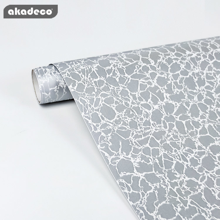 PVC marble  self adhesive decorative film white and gray color waterproof  for home decor