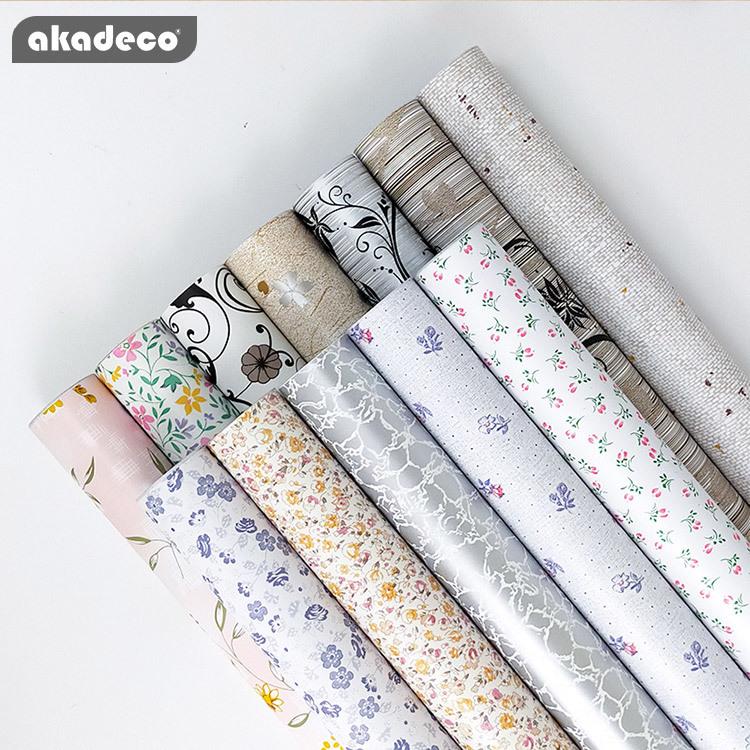 akadeco printed flower decorative film new patterns waterproof film for home decor PVC  self adhesive