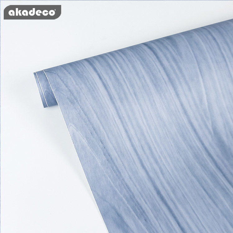 fresh blue color wooden wallpaper decorative film