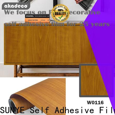 SUNYE wood grain vinyl wrap factory for dining room